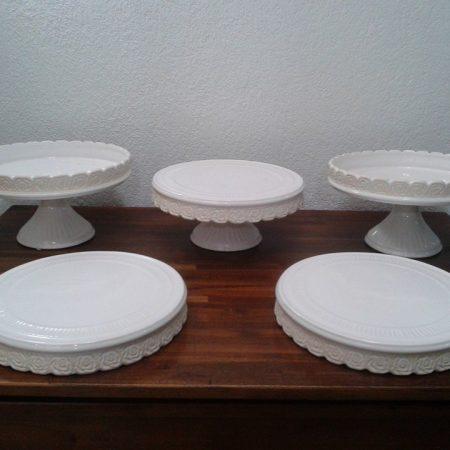 kit branco rosas prato raso 5 peças
