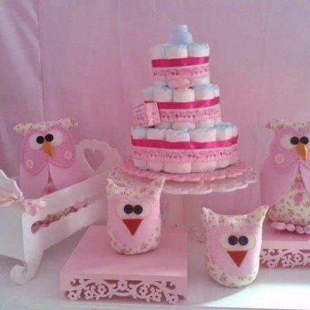 kit chá de bebê corujas rosa