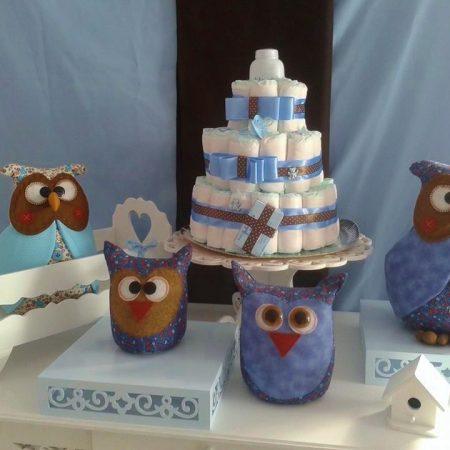 kit chá de bebe corujas azul