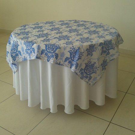 toalha mesa redonda arabesco azul