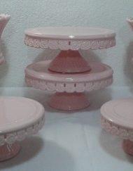 kit rosa com vasos 6 peças